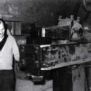 (Photo depicting Jože Mandelj and a product manufactured with the first company power hammer)